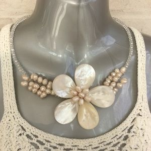 Hand Crafted Necklace Shell and Fresh Water Pearls